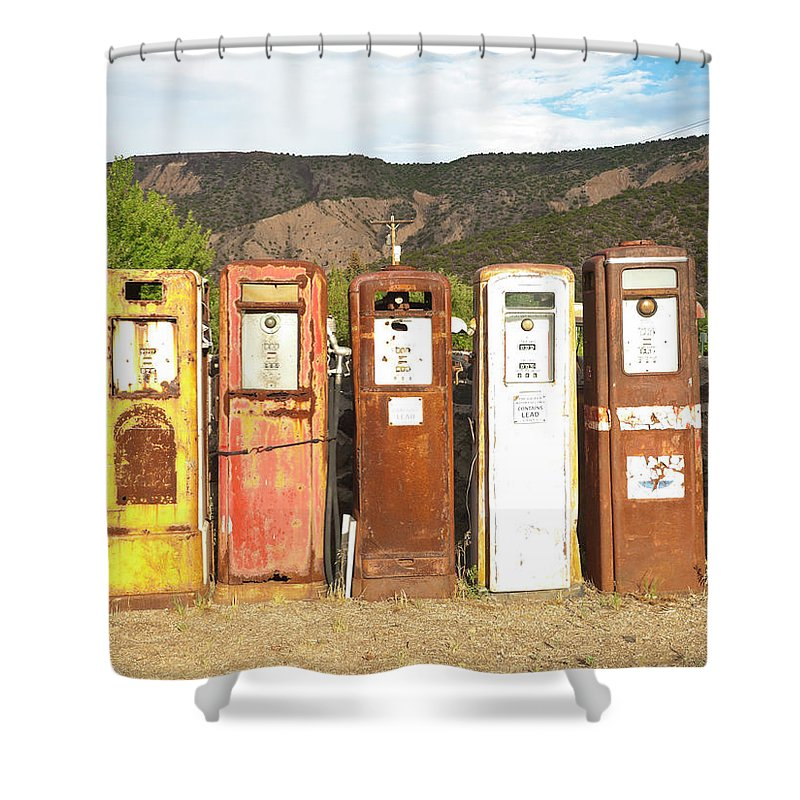 Home Decor Shower Curtain featuring the photograph Retro Gas Pumps In Outdoor Museum Nm by Helovi
