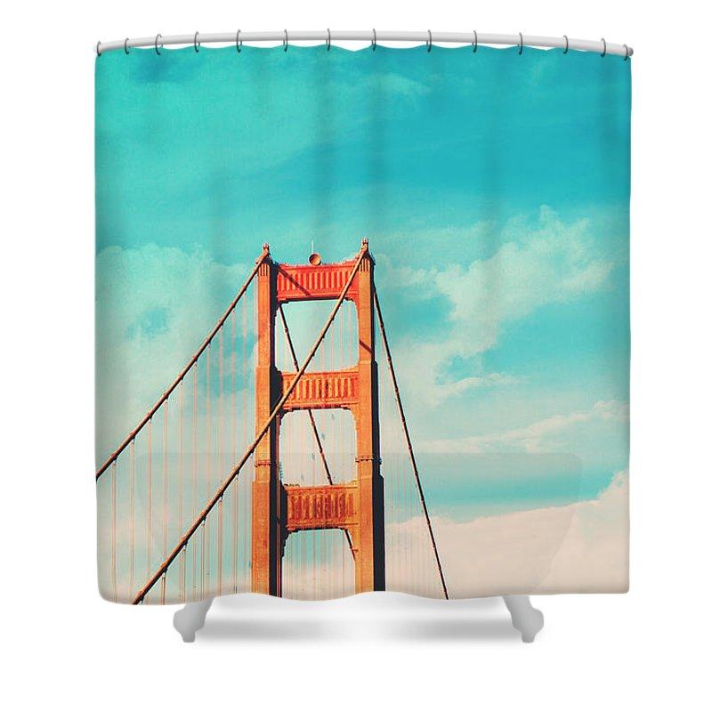 San Francisco Shower Curtain featuring the photograph Retro Golden Gate - San Francisco by Melanie Alexandra Price