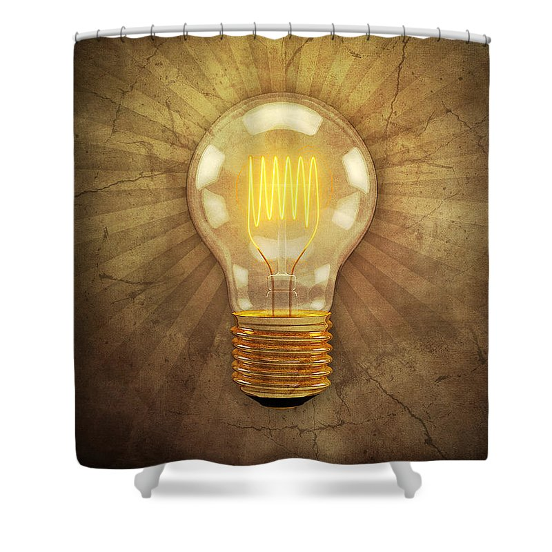 Lightbulb Shower Curtain featuring the digital art Retro Light Bulb by Scott Norris