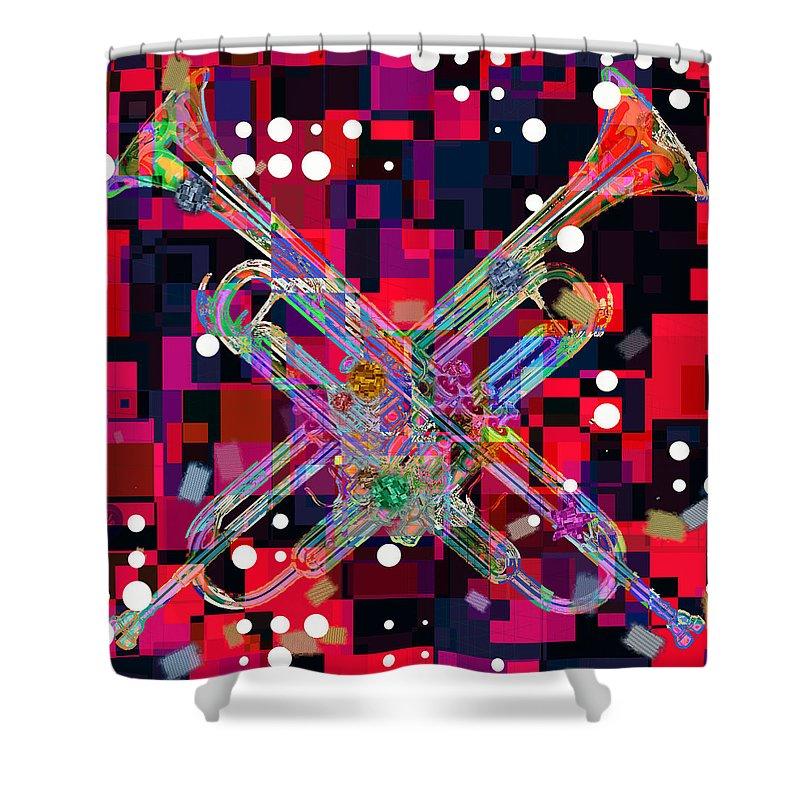 Retro Shower Curtain featuring the digital art Retro Trumpets by David G Paul