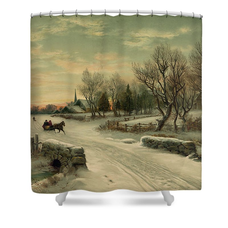 Christmas Shower Curtain Featuring The Photograph Retro Vintage Rural Winter Scene By John Stephens