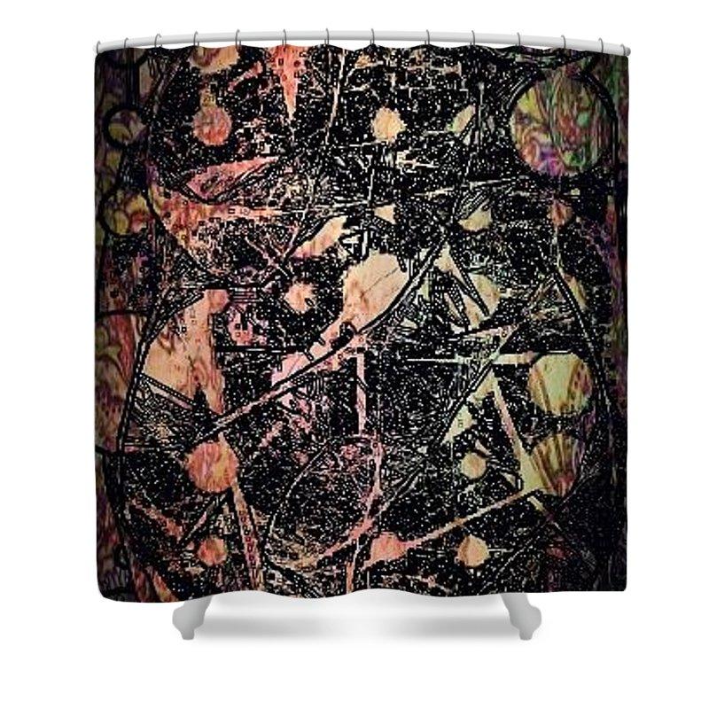 Tribal Shower Curtain featuring the digital art Retrospective by Alexander Ladd