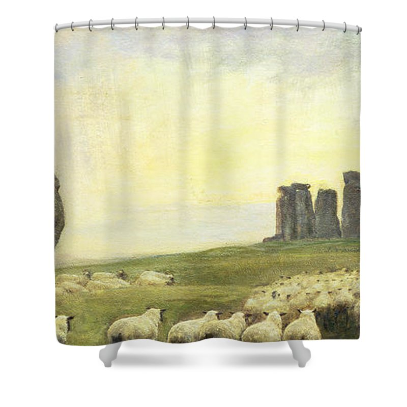Sheep Shower Curtain featuring the painting Returning Home   Stonehenge by Edgar Barclay
