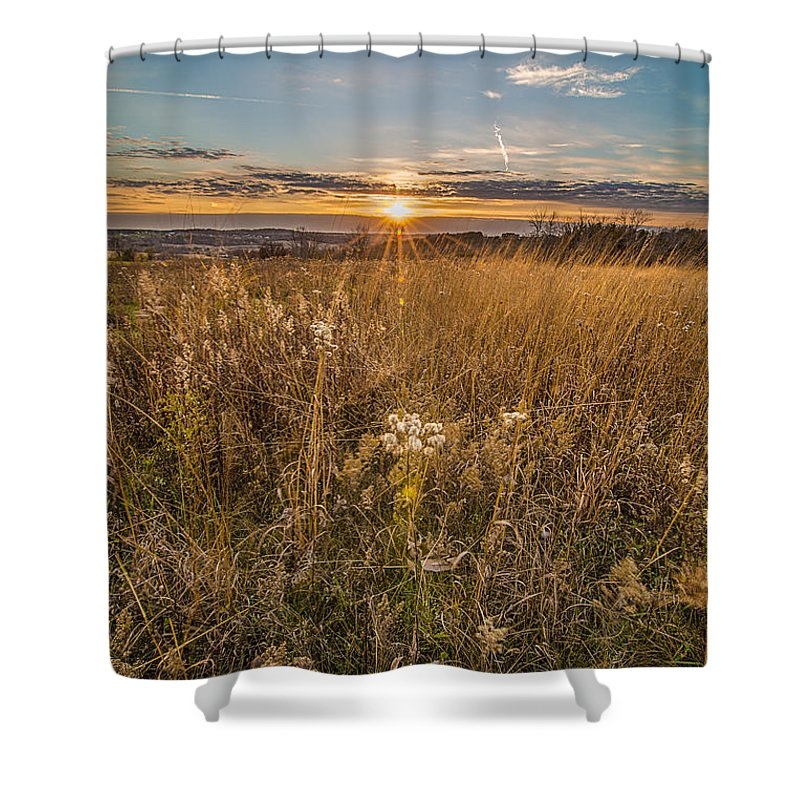 Autumn Shower Curtain featuring the photograph Retzer Autumn Sunset by Andrew Slater