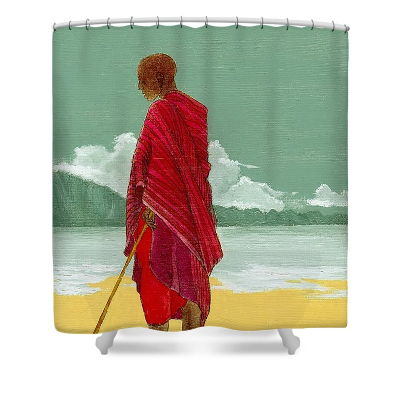 Figurative Painting Shower Curtain featuring the painting Reverence by Edith Peterson-Watson