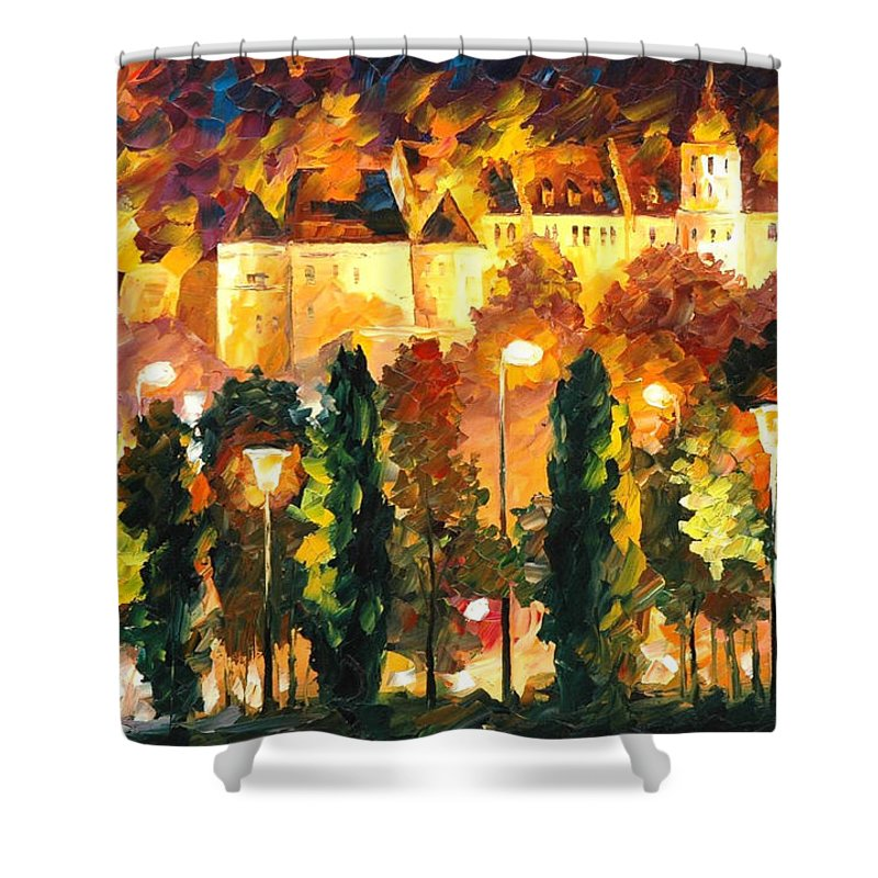 Oil Paintings Shower Curtain featuring the painting Revived Legend - Palette Knife Oil Painting On Canvas By Leonid Afremov by Leonid Afremov