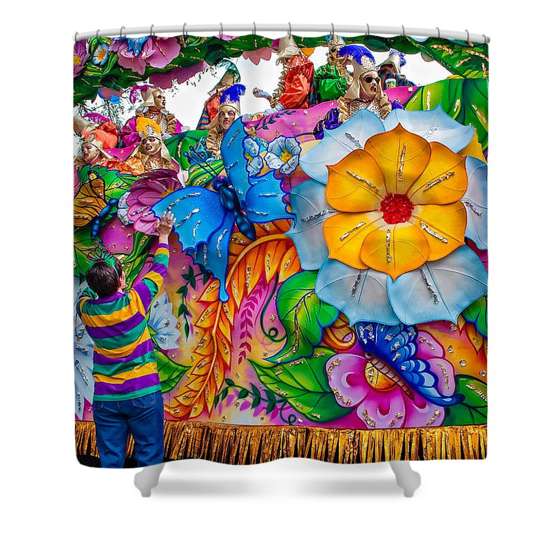 New Orleans Shower Curtain featuring the photograph Rex Mardi Gras Parade by Steve Harrington