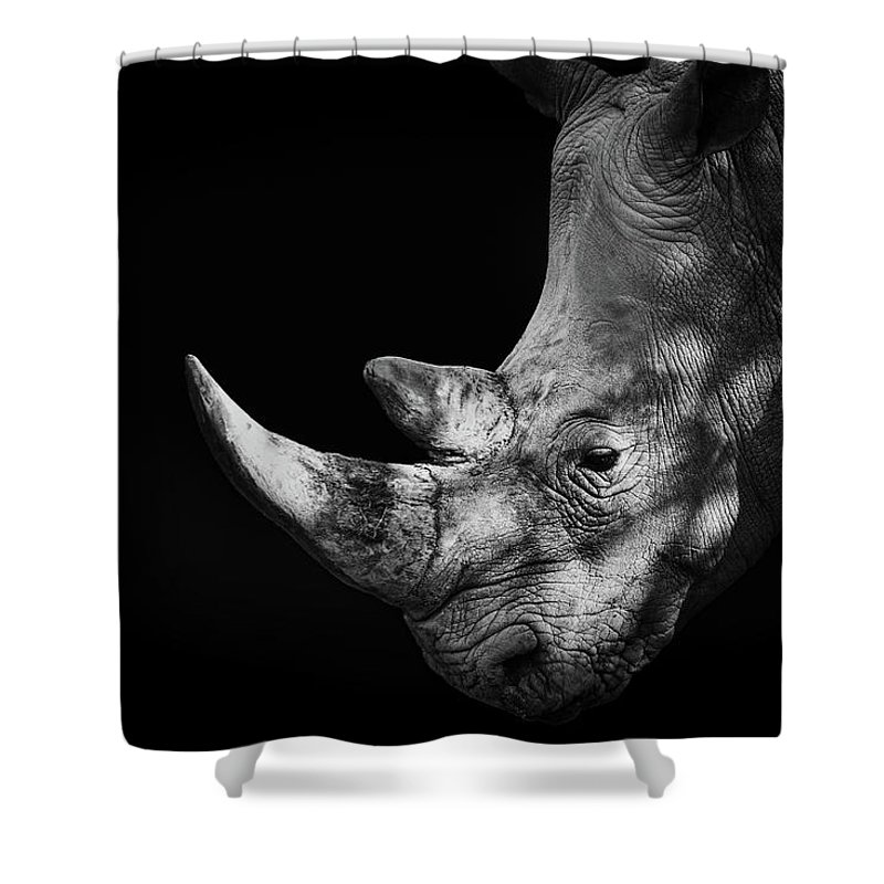 Horned Shower Curtain featuring the photograph Rhinoceros by Malcolm Macgregor