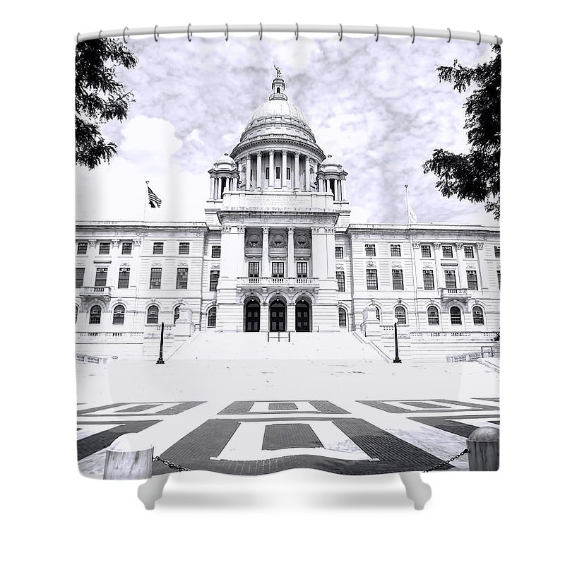 Providence Shower Curtain featuring the photograph Rhode Island State House Bw by Lourry Legarde
