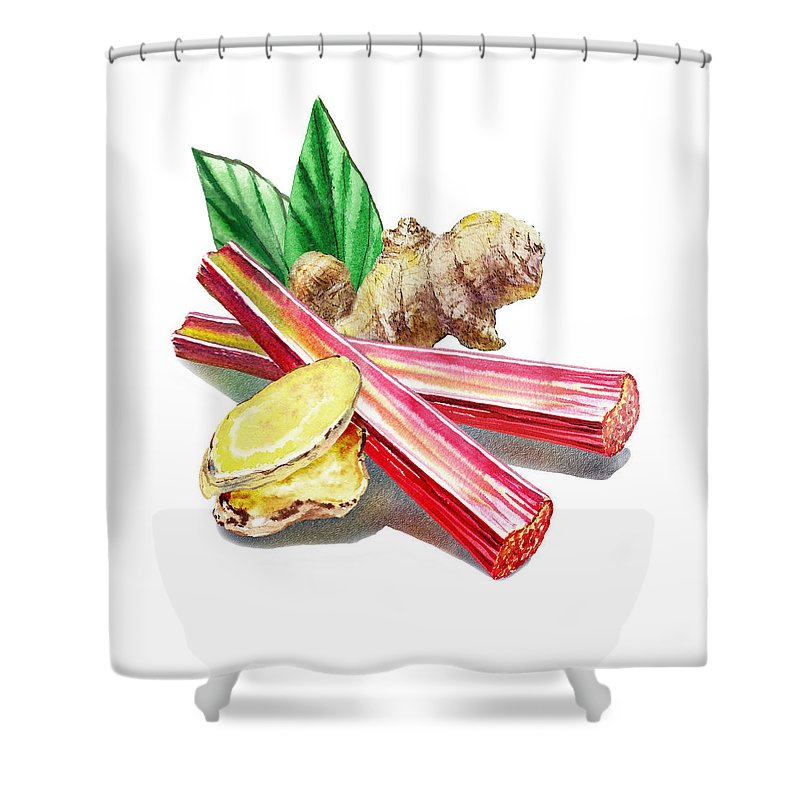 Rhubarb Shower Curtain featuring the painting Rhubarb And Ginger by Irina Sztukowski