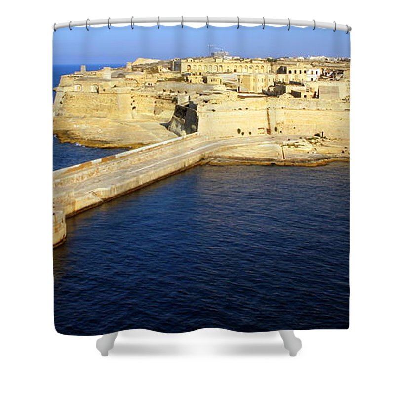 Ricasoli Shower Curtain featuring the photograph Ricasoli Breakwater At Valletta's Grand Harbor by Laurel Talabere