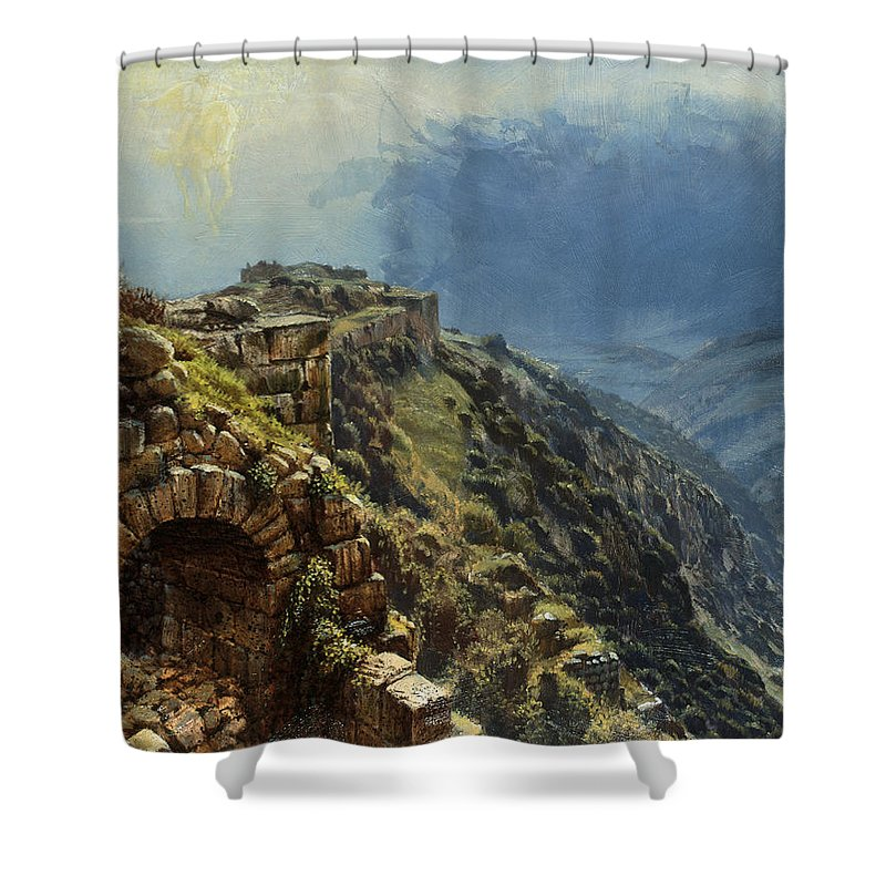 Golan Shower Curtain featuring the painting Rider On A White Horse by Graham Braddock