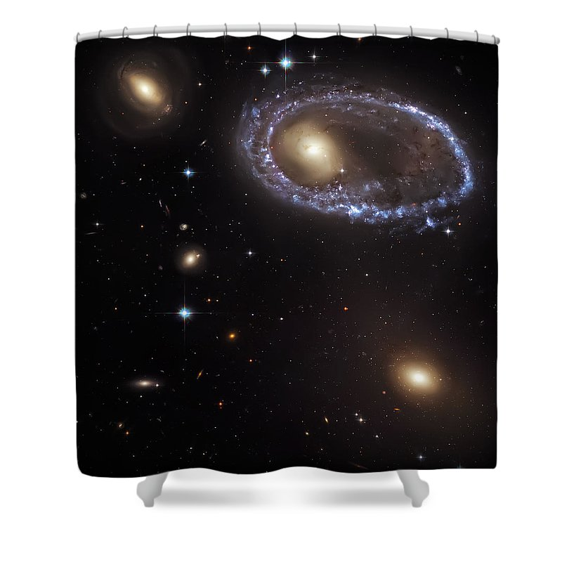 Universe Shower Curtain featuring the photograph Ring Galaxy by Jennifer Rondinelli Reilly - Fine Art Photography