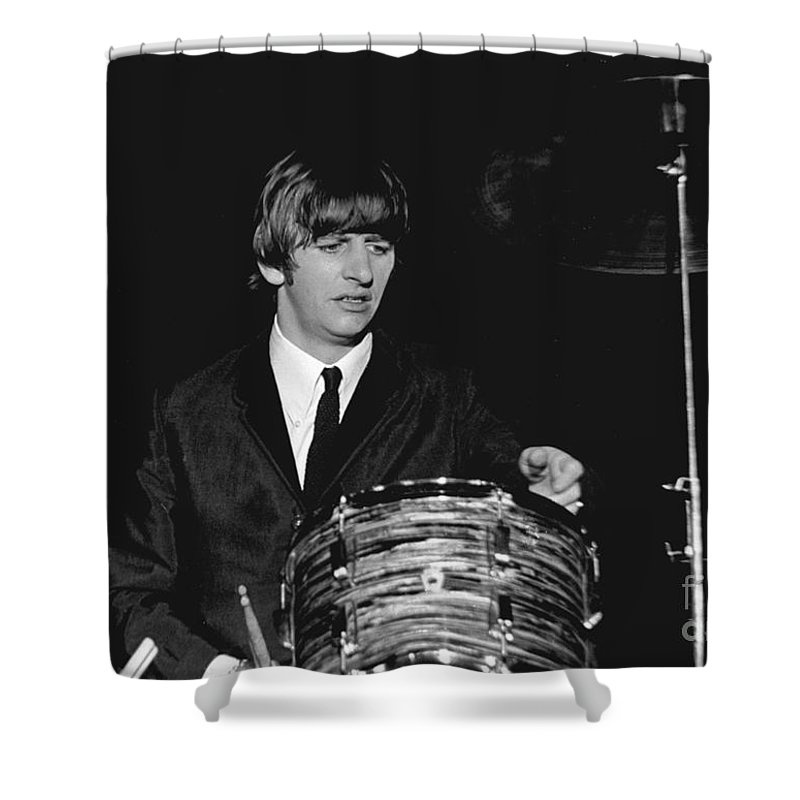 Beatles Shower Curtain featuring the photograph Ringo Starr, Beatles Concert, 1964 by Larry Mulvehill