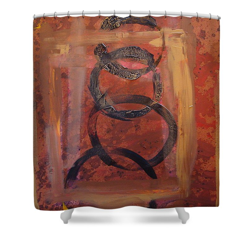 Abstract Shower Curtain featuring the painting Rings - Circles Of Life by Holly Picano