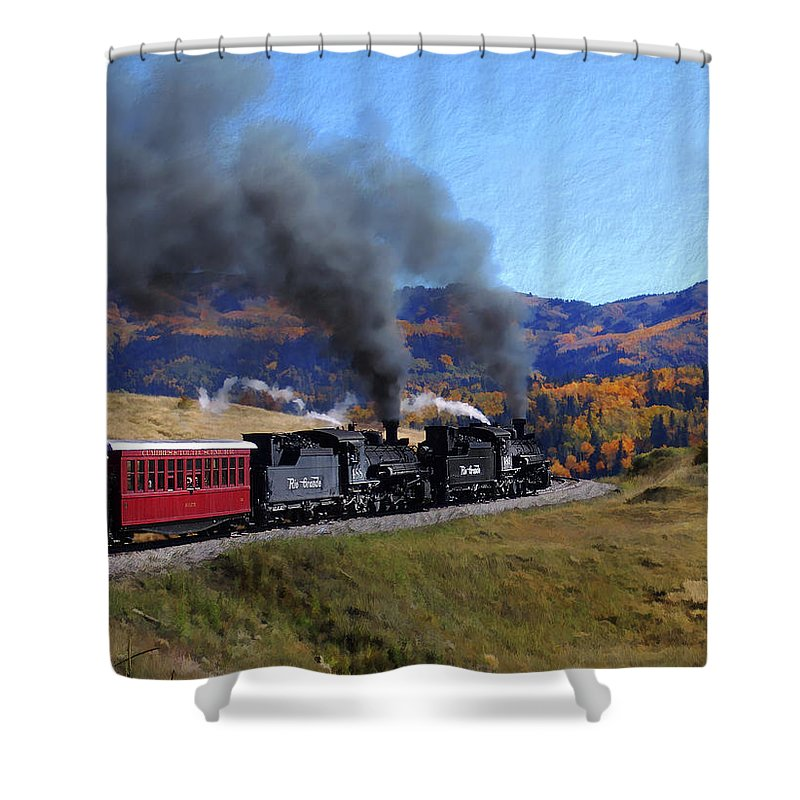 Railroad Shower Curtain featuring the photograph Rio Grande 488 And 489 by Kurt Van Wagner