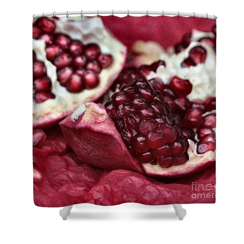 Pomegranate Shower Curtain featuring the photograph Ripe Red Pomegranate Close Up by Luv Photography