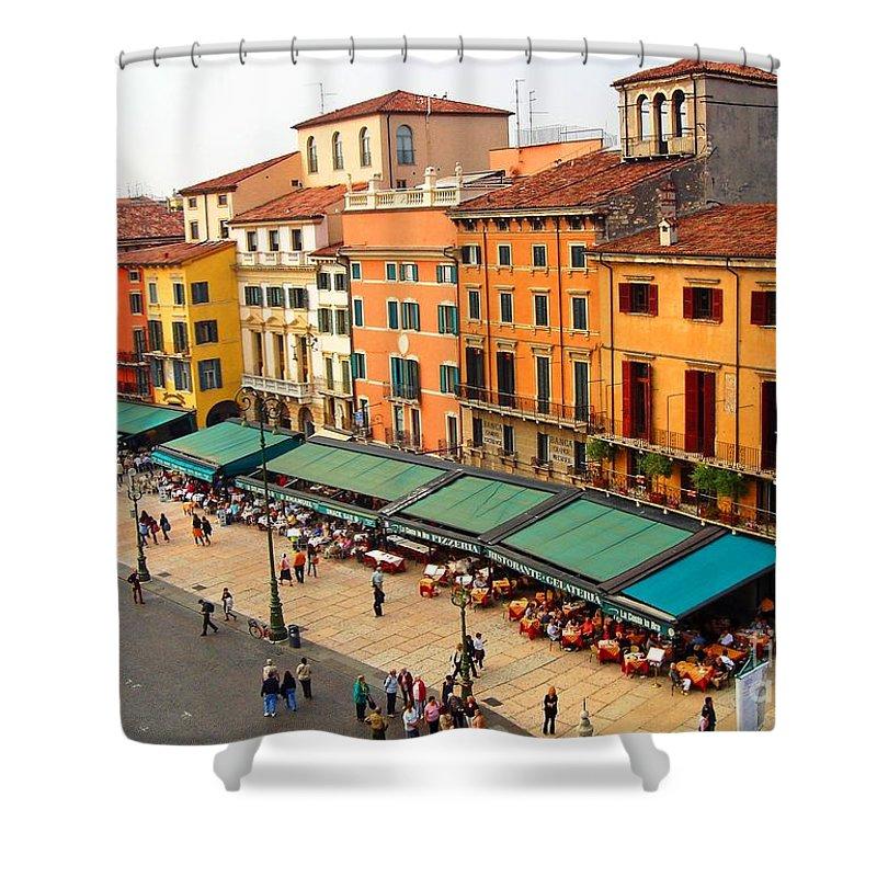 Ristorante Shower Curtain featuring the photograph Ristorante Olivo Sas Piazza Bra by Phillip Allen