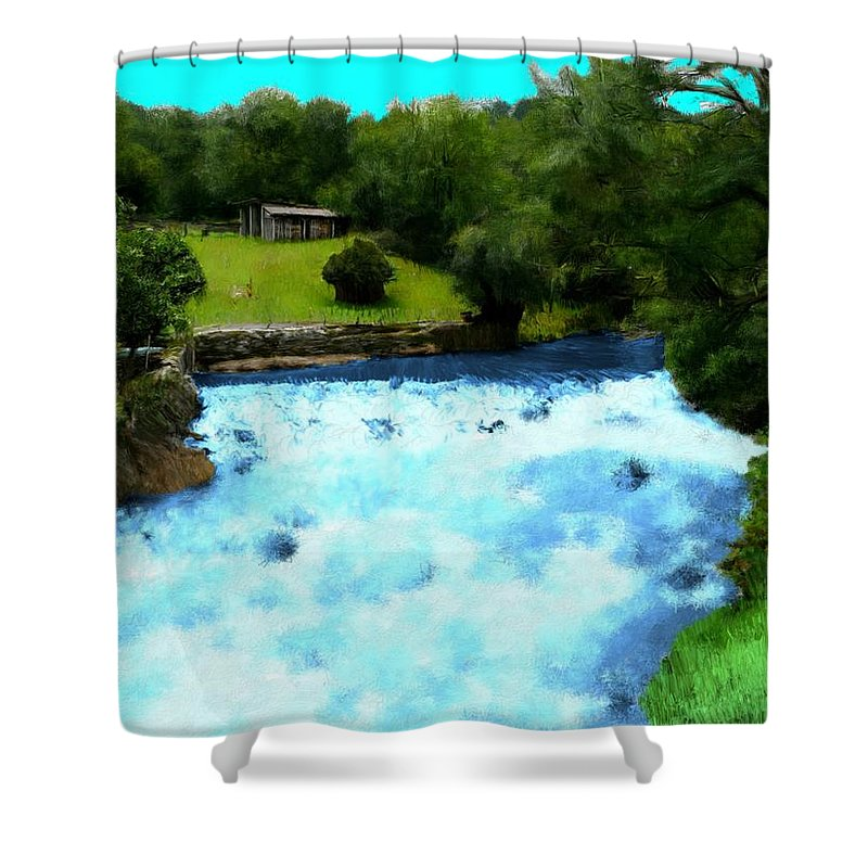 Waterfall Shower Curtain featuring the painting River And Waterfall In France by Bruce Nutting