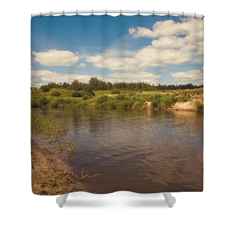 River Shower Curtain featuring the photograph River Flows by Jenny Rainbow