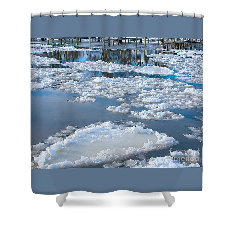 Ice Shower Curtain featuring the photograph River Ice by Ann Horn