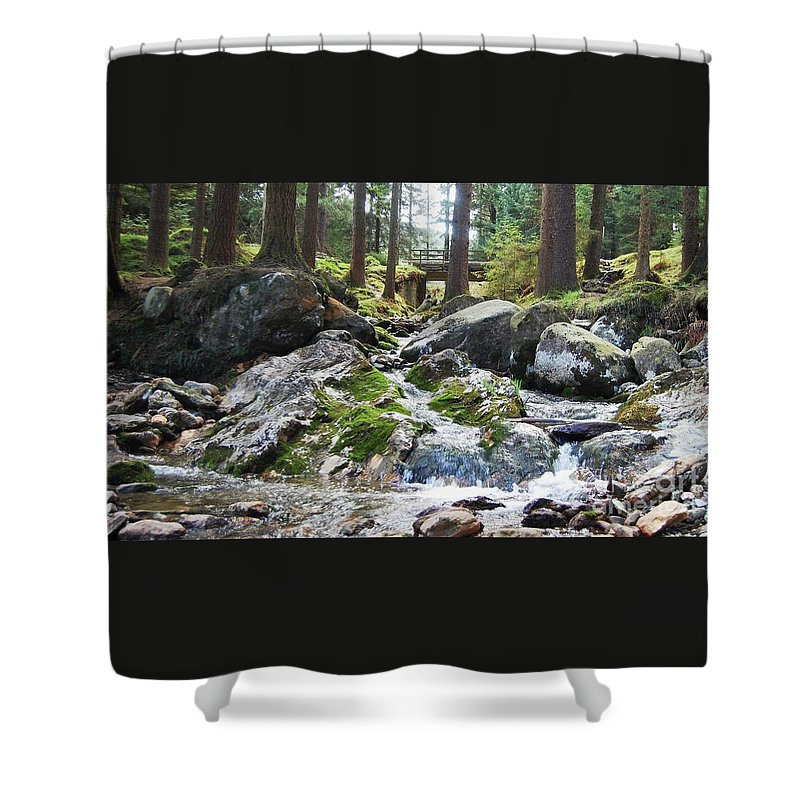 Ireland Art River Woodland Outdoors Rocks Travel Stock Shot Rural Wicklow Countryside Sylvan Setting Shower Curtain featuring the photograph A River Scene In Wicklow, Ireland by Courtney Dagan