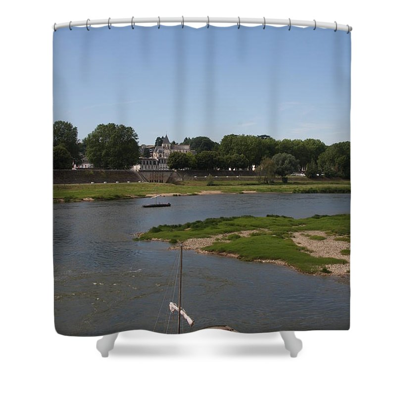 Boat Shower Curtain featuring the photograph River Loire Fishing Boat by Christiane Schulze Art And Photography