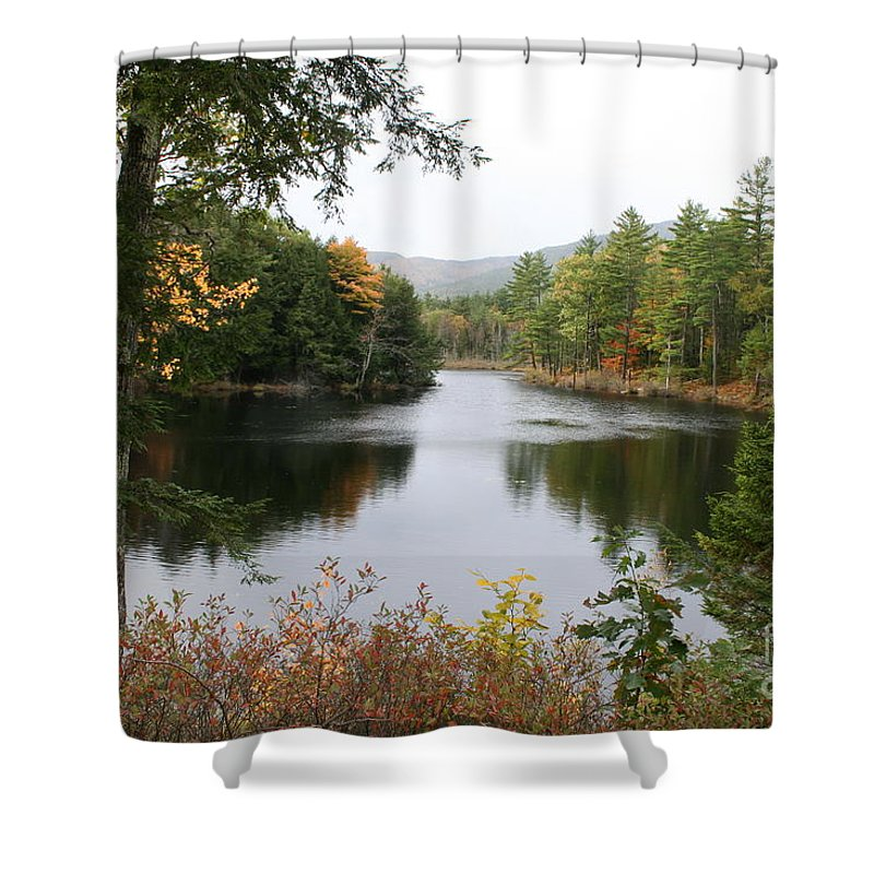River Shower Curtain featuring the photograph River North Conway by Christiane Schulze Art And Photography