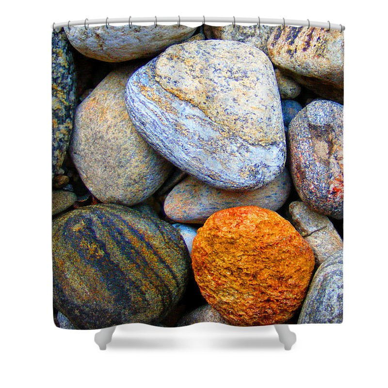 Duane Mccullough Shower Curtain featuring the photograph River Rocks 1 by Duane McCullough