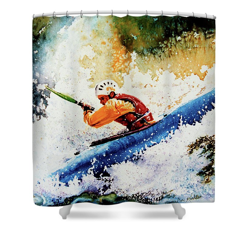 Sports Art Shower Curtain featuring the painting River Rush by Hanne Lore Koehler