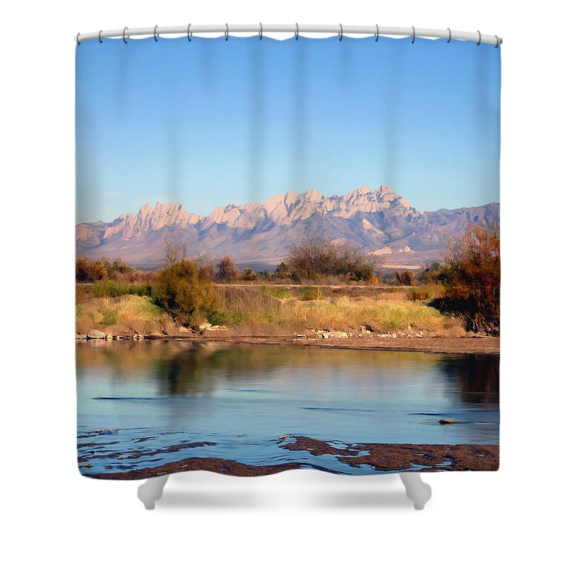 River Shower Curtain featuring the photograph River View Mesilla by Kurt Van Wagner