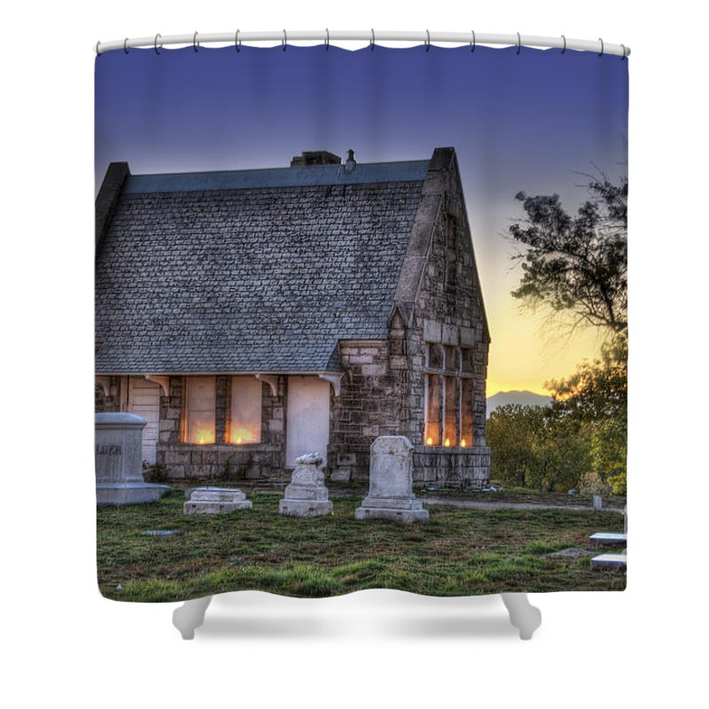 5201 Brighton Boulevard Shower Curtain featuring the photograph Riverside Cemetery by Juli Scalzi