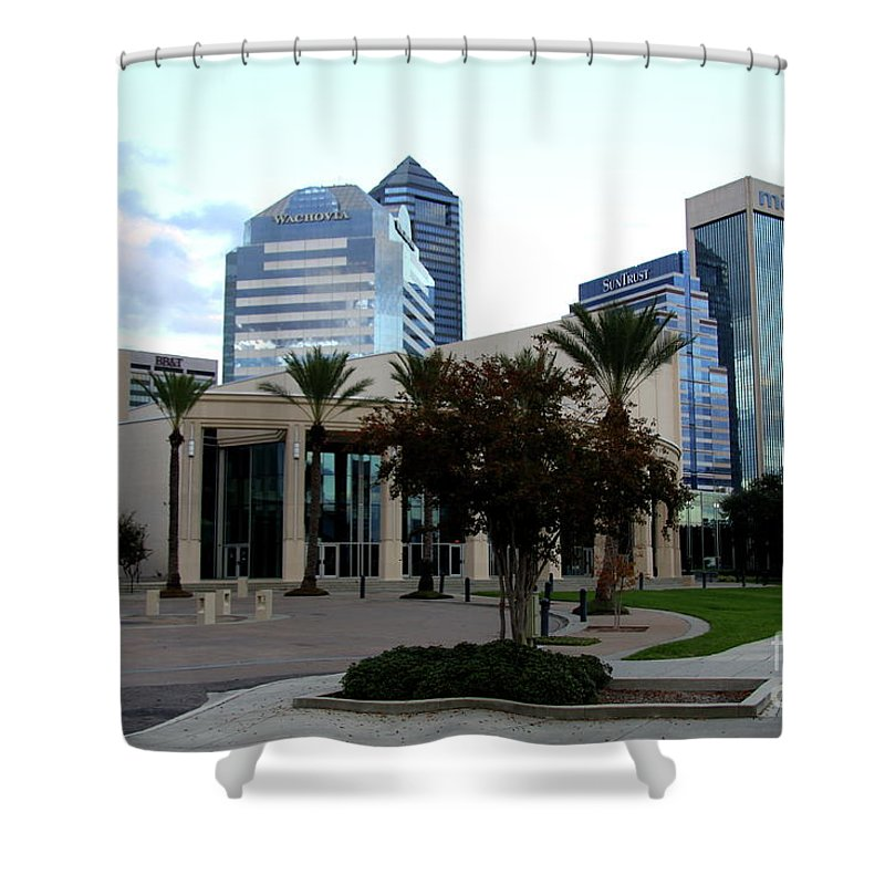Buildings Shower Curtain featuring the photograph Riverwalk Jacksonville - Fl by Christiane Schulze Art And Photography