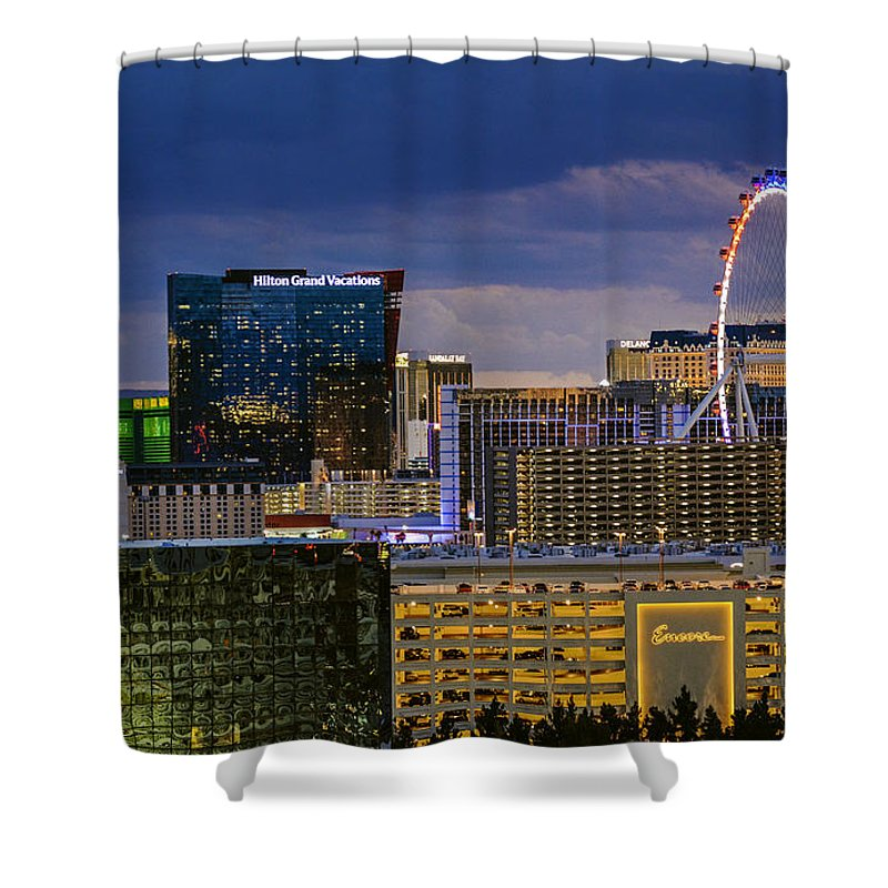 Las Vegas Shower Curtain featuring the photograph Riviera Balcony View by Debbie D Anthony