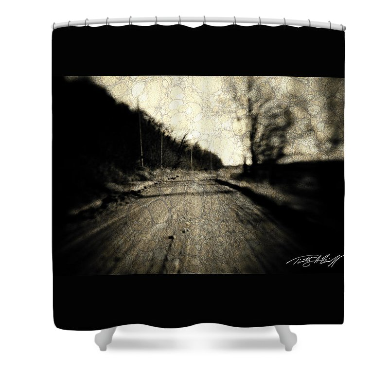 B&w Shower Curtain featuring the photograph Road Of The Past by Timothy Bischoff