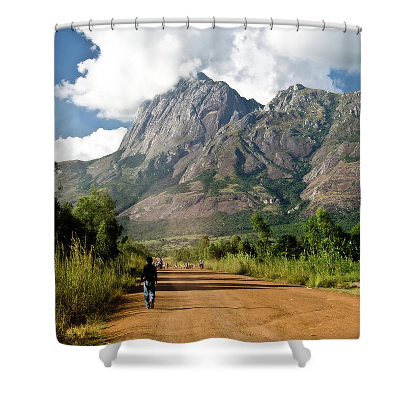 Scenics Shower Curtain featuring the photograph Road To Mount Mulanje by Colin Carmichael