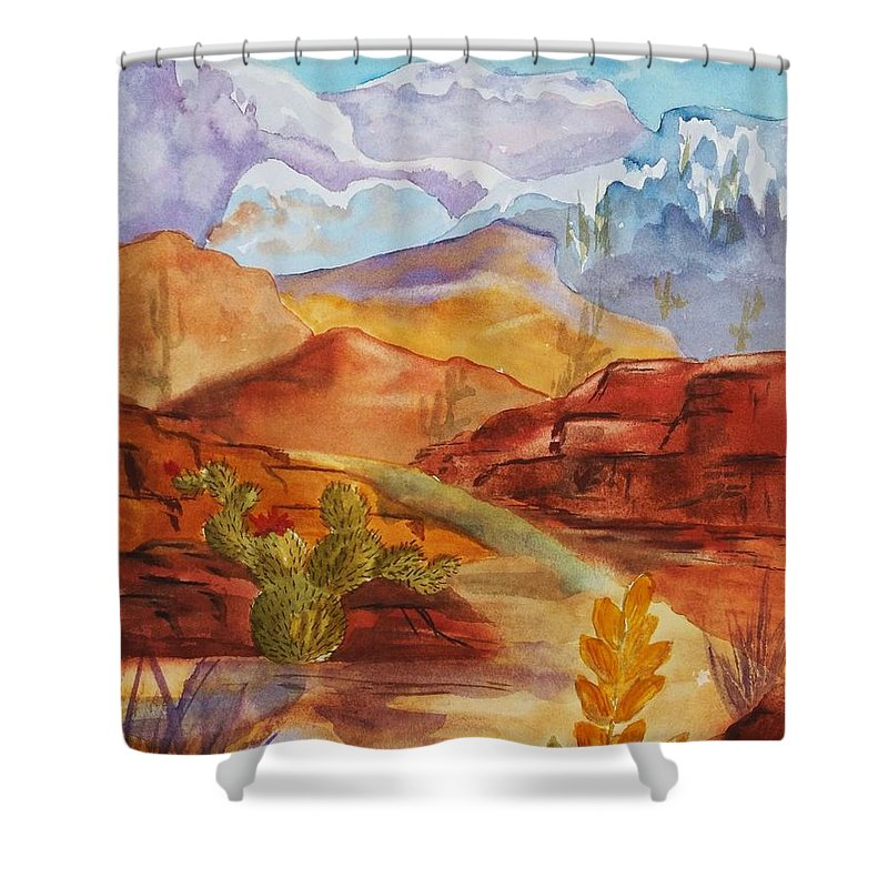 Mountains Shower Curtain featuring the painting Road To Nowhere by Ellen Levinson