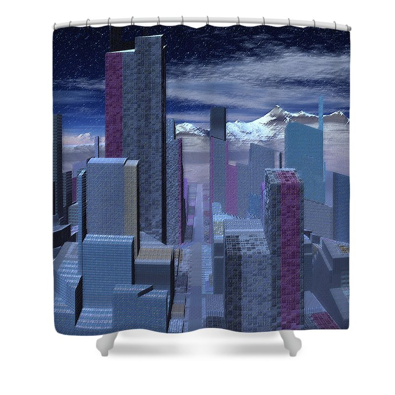 City Shower Curtain featuring the digital art Road To Nowhere by Judi Suni Hall