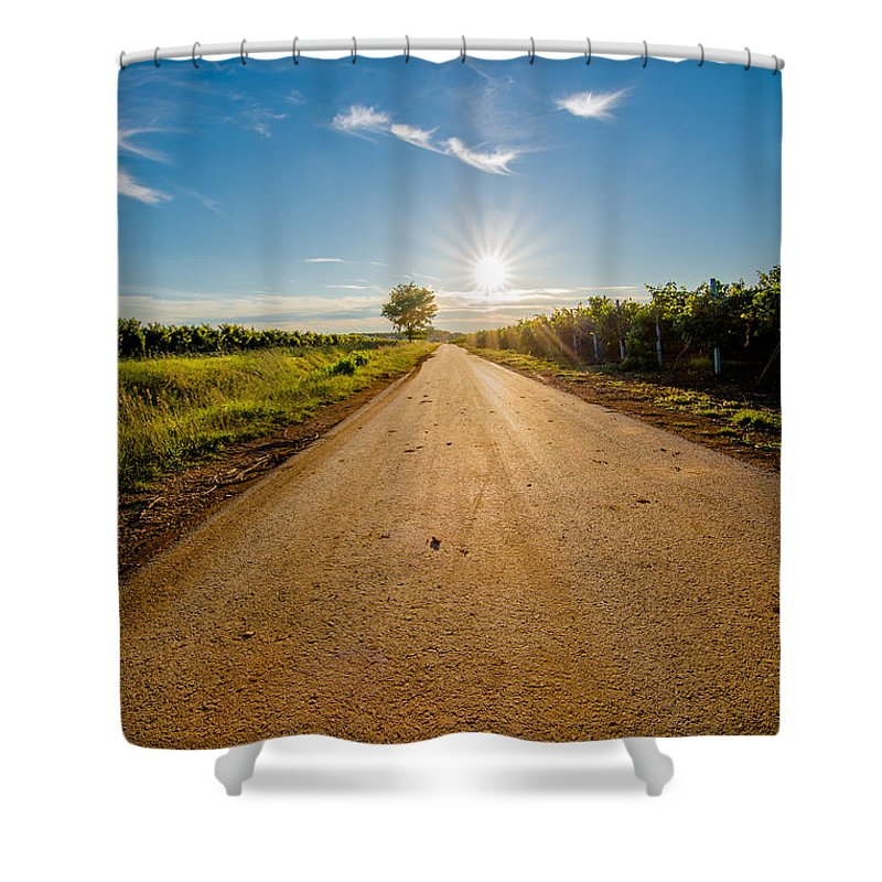 Sun Shower Curtain featuring the photograph Road To The Sun by Andreas Berthold