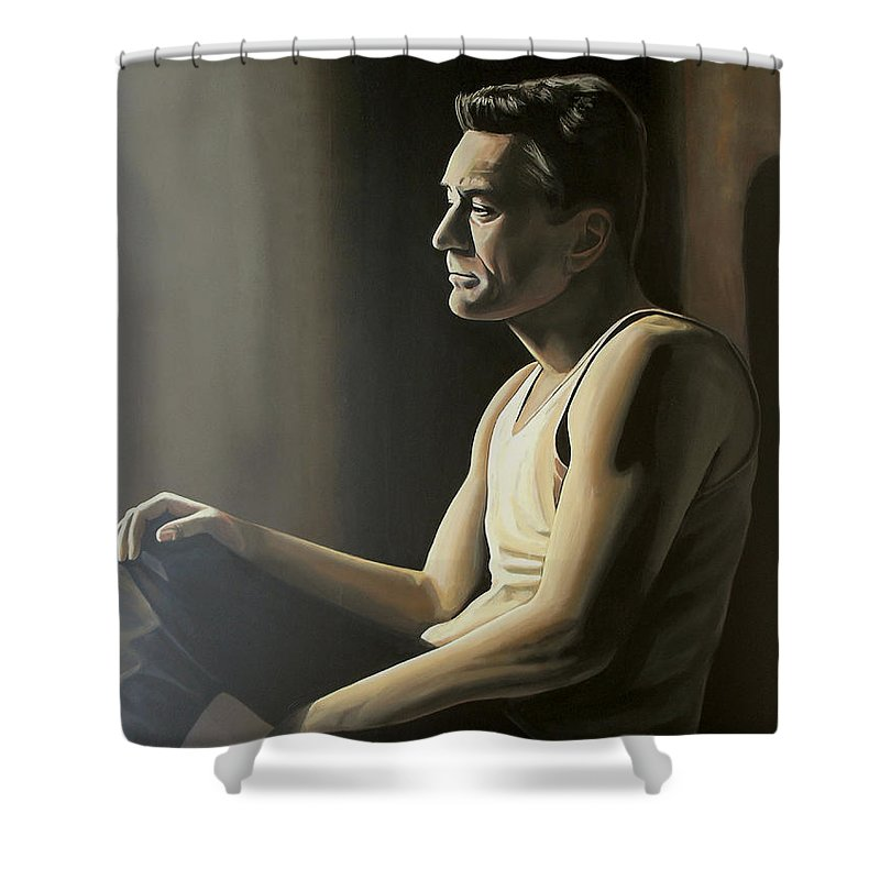 Robert De Niro Shower Curtain featuring the painting Robert De Niro by Paul Meijering