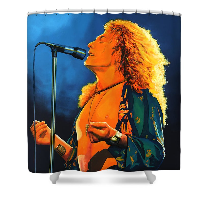 Robert Plant Shower Curtain featuring the painting Robert Plant by Paul Meijering