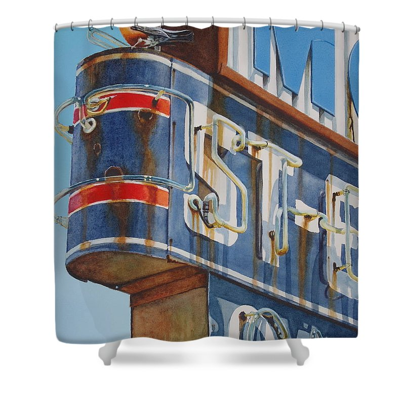 Neon Sign Shower Curtain featuring the painting Robin And Motel by Greg and Linda Halom