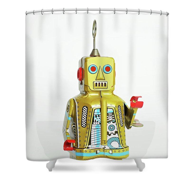 Cut Out Shower Curtain featuring the photograph Robots by Juj Winn