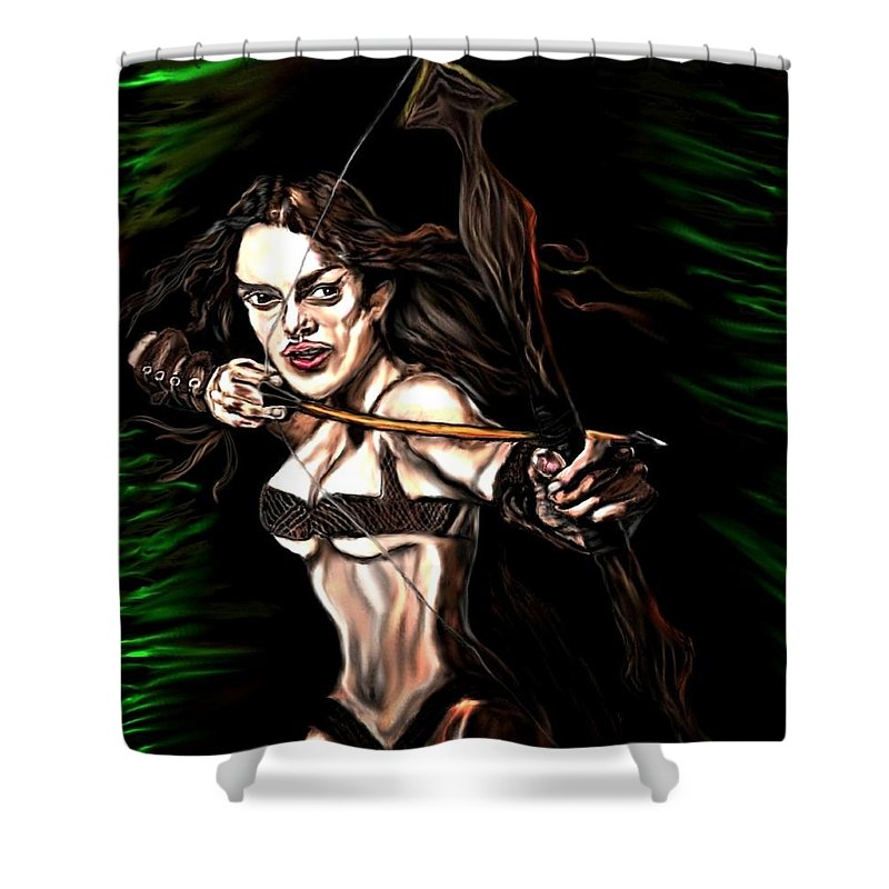 Robin Hood Shower Curtain featuring the painting Robyn Hood by Herbert Renard