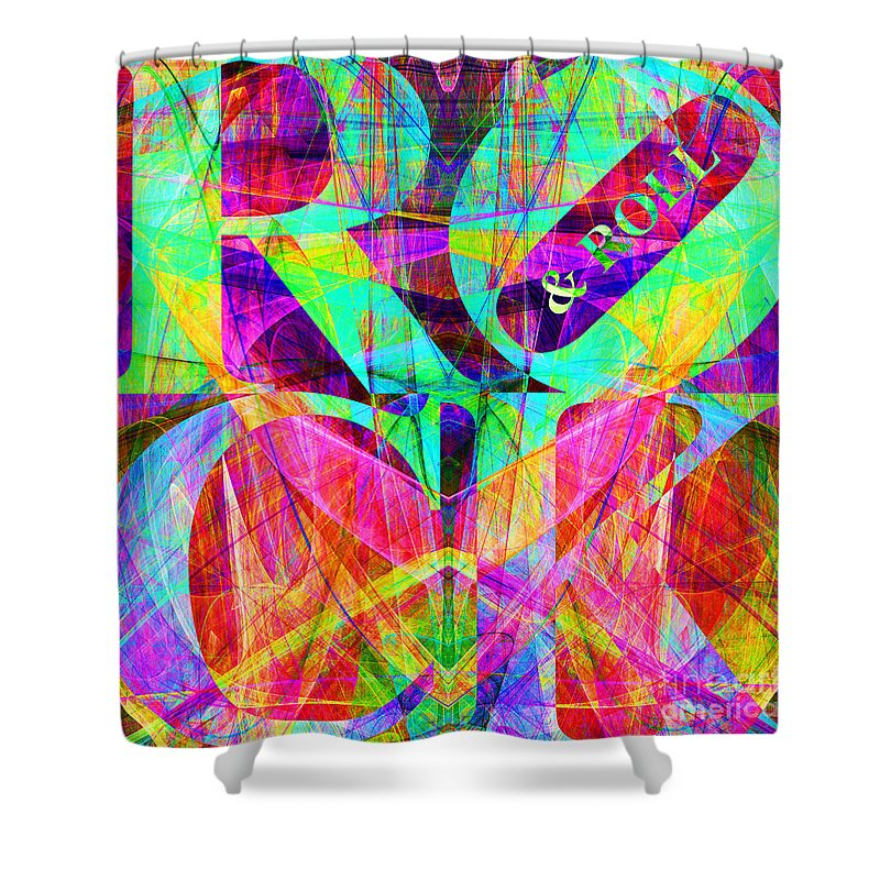 Abstract Shower Curtain featuring the digital art Rock And Roll 20130708 Fractal by Wingsdomain Art and Photography