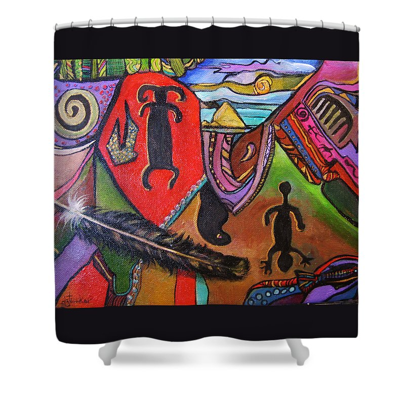 Abstract Shower Curtain featuring the painting Rock Art Of Nevada by Donna Tucker