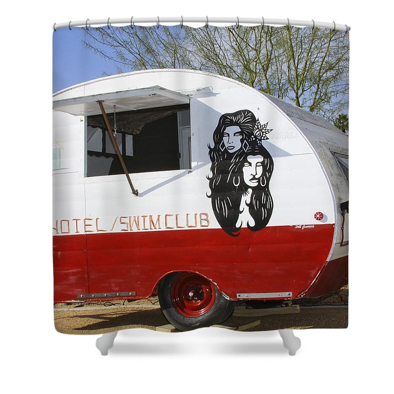 Airstream Shower Curtain featuring the photograph Rock Away Trail Riders Palm Springs by William Dey