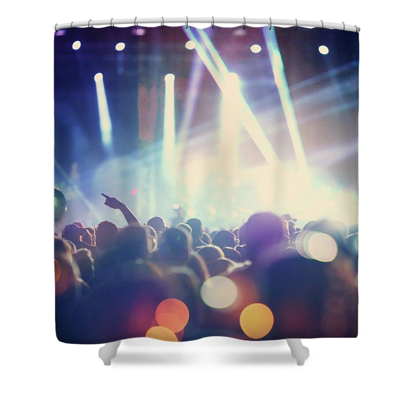 Event Shower Curtain featuring the photograph Rock Concert by Gilaxia