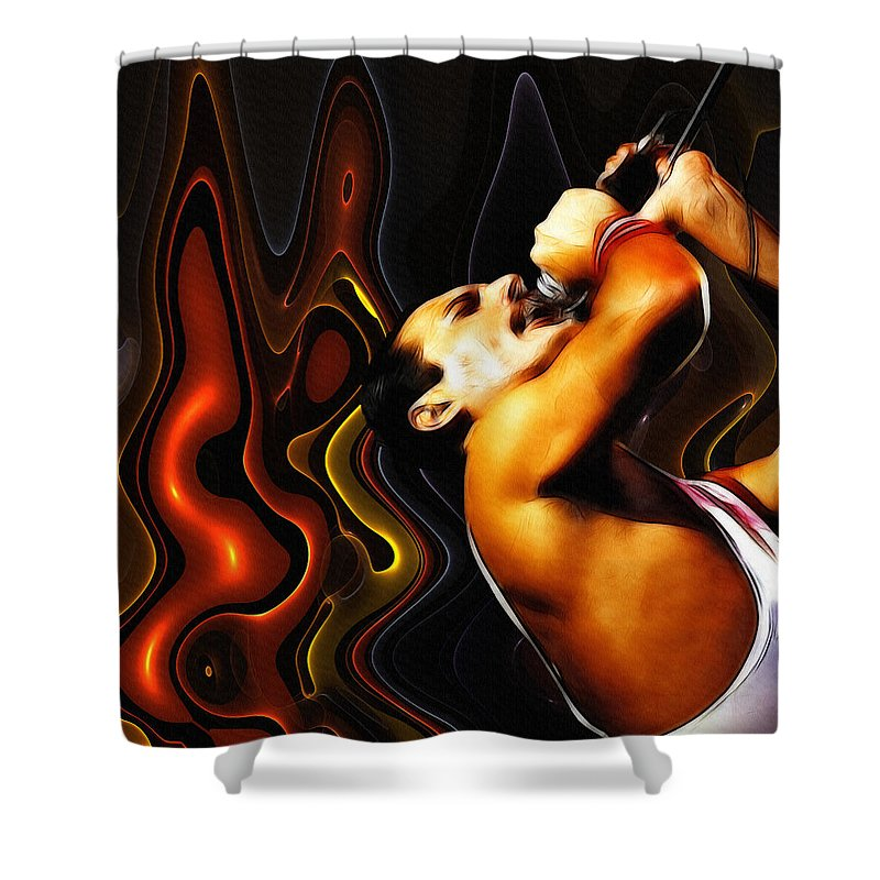 Rock Music Freddie Mercury Queen Famous Band 80s 70s 90s Star Song Songwriter Shower Curtain featuring the digital art Rock Goes Fantasy by Steve K