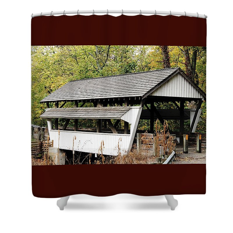 Rock Mill Shower Curtain featuring the photograph Rock Mill Covered Bridge Ohio by Wendy Gertz